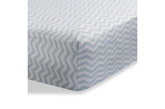 (60cm  x 100cm  (MINI CRIB), Zigzag Grey) - Fitted Knit Crib Sheet - Best Crib Sheet for Baby - Infant | Toddler 100% Cotton Jersey Knit Deep Fitted Bed Sheet (60cm x 100cm (MINI CRIB), Zigzag Grey)