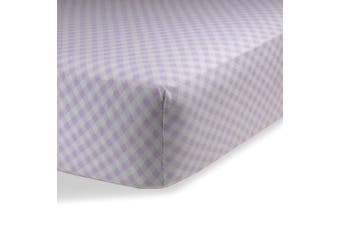 (60cm  x 100cm  (MINI CRIB), Checked Lavendar) - Fitted Knit Crib Sheet - Best Crib Sheet for Baby - Infant | Toddler 100% Cotton Jersey Knit Deep Fitted Bed Sheet (60cm X 100cm (MINI CRIB), Checked Lavender)