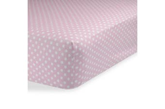 (60cm  x 100cm  (MINI CRIB), Polka Dot Pink) - Crib Sheets / Crib Sheets Boys / Crib Sheets Girls for Baby - Infant - Toddler Deep Fitted Soft Jersey Knit by Abstract (60cm X 100cm (MINI CRIB), Polka Dot Pink)