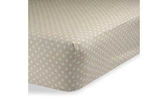 (70cm  x 130cm  (STANDARD CRIB), Polka Dot Beige) - Fitted Knit Crib Sheet - Best Crib Sheet for Baby - Infant | Toddler 100% Cotton Jersey Knit Deep Fitted Bed Sheet