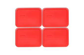 (4, Red) - Pyrex 7210-PC Rectangle Red 3 Cup Storage Lid for Glass Dish (4, Red)