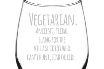 (Funny Freehand Quotes, Vegetarian Slang) - (Vegetarian Slang Definition) Funny Freehand Joke Quote Inspired - Laser Engraved 380ml Libbey All-Purpose Wine Taster Glass