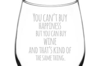 (Funny Freehand Quotes, Buy Wine For Happiness) - (Buying Wine Brings Happiness) Funny Freehand Joke Quote Inspired - Laser Engraved 380ml Libbey All-Purpose Wine Taster Glass
