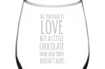 (Funny Freehand Quotes, Chocolate Doesn't Hurt) - (Chocolate Now & Then Doesn't Hurt) Funny Freehand Joke Quote Inspired - Laser Engraved 380ml Libbey All-Purpose Wine Taster Glass