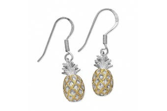 Sterling Silver with 14kt Yellow Gold Plated Accents Pineapple Dangle Earrings