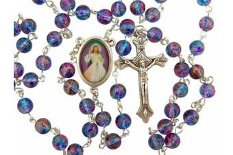 """CB Silver Plated 7MM Multi Colour Glass Bead with Divine Mercy Centrepiece Rosary Necklace, 18"""""""