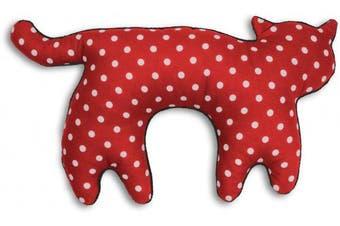(Polka dot red / Midnight) - Leschi Travel pillow (for car and plane journeys) | 36797 | Feline the cat | Colour: Polka dot red / Midnight