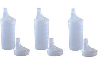 (3) - PLASTIC FEEDING CUP WITH 2 LIDS - Adult feeder beaker with large and narrow spout - Hospital mug. (3)