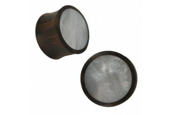 (16 mm) - Organic Sonoholz Plug brown pearl white iridescent Inlay Tribal