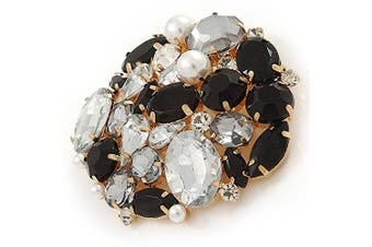 Black/ Clear Acrylic Bead, Faux Pearl Cluster Corsage Brooch In Gold Tone - 60mm Across