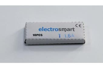 electrosmart Pack of 10 1.6A T1.6A 250v Slow Blow 20mm x 5mm Glass Fuse