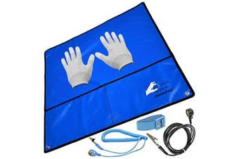 (Blau 60 x 60 cm + ESD Handschuhe) - Minadax® ESD-Set - Antistatic Mat - Blue - Wrist Strap and Grounding Cable + VSGO Antistatic Gloves - For Safe Operation and Protection of Your Components against Damage by Discharge