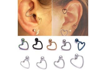 (1.2mm*12mm, Silver) - Surgical Steel Heart Ring With Pole Stud Earring For Ear Helix Daith Lobe Tragus