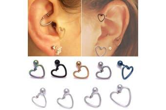 (1.2mm*12mm, Rainbow) - Surgical Steel Heart Ring With Pole Stud Earring For Ear Helix Daith Lobe Tragus