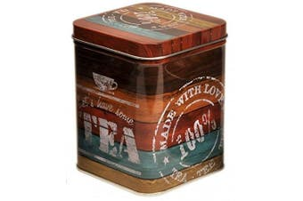 VINTAGE DRIFTWOOD - Let's Have Tea - Retro Style SQUARE Hinged Lid 100g Tea Caddy / Kitchen Storage Tin - 9.5cm