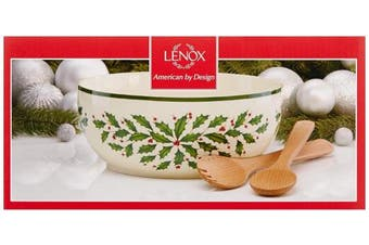 (Salad Bowl with Wooden Servers) - Lenox Holiday Salad Bowl with Wooden Servers