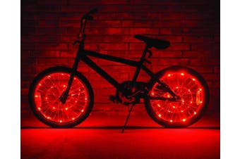 (Red) - Wheel Brightz LED Bicycle Safety Light Lightweight Accessory
