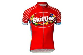 (2xl) - Brainstorm Gear Men's Skittles Ride the Rainbow Cycling Jersey - SKIP-M (Red - 2XL)