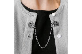 Evelots Sweater Collar Shawl Clip-Butterfly-Antique SilverTone-Dress,Blouse-Vest