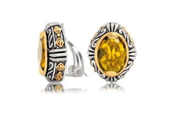 Bling Jewellery Bali Style Oval Champagne Colour Two Tone Clip On Earrings Silver Plated