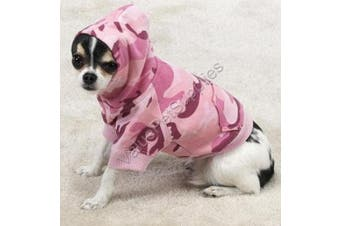 (s, Pink) - Casual Canine Cotton Camo Dog Hoodie, Small, Pink