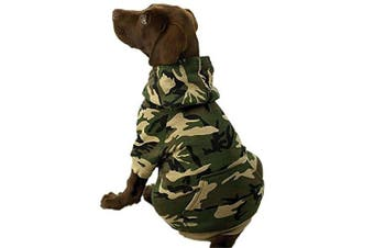 (XX-Large, Green) - Casual Canine Cotton Camo Dog Hoodie, XX-Large, Green