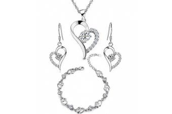 findout ladies Silver white crystal Heart Shape Set Earring and Pendant Necklace+bracelet