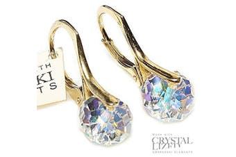 (Aurore Boreale Crystal) - Stunning Hand Finished 8mm Briolette Genuine . Elements Gold Over Sterling Silver Earrings. Stamped. Available In A Range Of Gorgeous Colours. 2.6GR Total Weight. Outstanding Quality Finish.