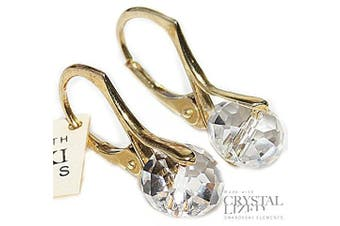 (Crystal) - Stunning Hand Finished 8mm Briolette Genuine . Elements Gold Over Sterling Silver Earrings. Stamped. Available In A Range Of Gorgeous Colours. 2.6GR Total Weight. Outstanding Quality Finish.