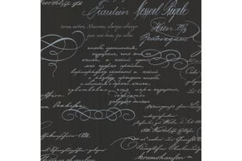 (black) - Brewster 2532-20461 Ferdinand Black Poetic Script Wallpaper
