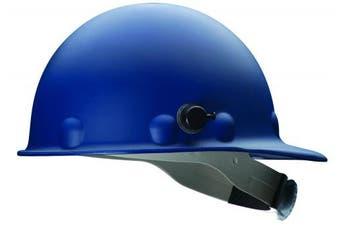 (Blue) - Fibre-Metal by Honeywell P2AQRW71A000 Super Eight Fibre Glass Cap Style Ratchet Hard Hat with Quick-Lok, Blue