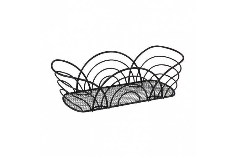 (black) - Spectrum 96810 Twist Flower Bread Basket, Black