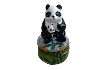 Giant Panda Bear and Baby Cub Trinket Box phb