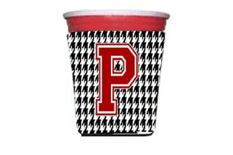 Monogram - Houndstooth Initial P Red Solo Cup Beverage Insulator Hugger CJ1021P-RSC