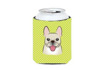 Checkerboard Lime Green French Bulldog Can or Bottle Hugger BB1300CC