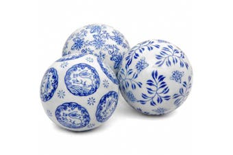 Oriental Furniture 10cm Blue & White Decorative Porcelain Ball Set
