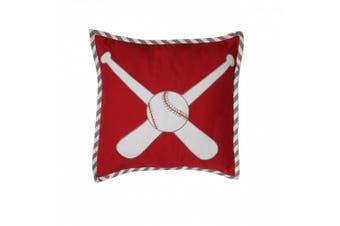 (Dec Pillow, Baseball Red/Grey) - Bacati - Muslin Sports Toddler Bedding (Dec Pillow, Baseball Red/Grey)