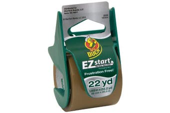 (22.2 Yards/Roll (Single), Tan) - Duck Brand EZ Start Packaging Tape with Dispenser, 4.8cm x 22.2 Yards, Tan (393191)