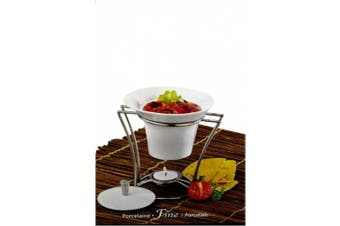 15cm Porcelain Hot Dip Butter Dish Holder Bowl with Chrome Rack Warmer