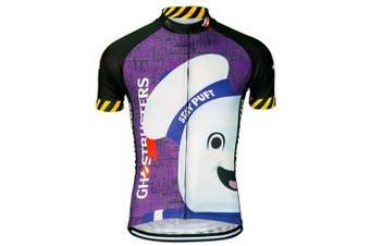 (xl) - Brainstorm Gear Men's Ghostbusters Stay Puft Cycling Jersey - GBMM-M (Purple & Black - XL)