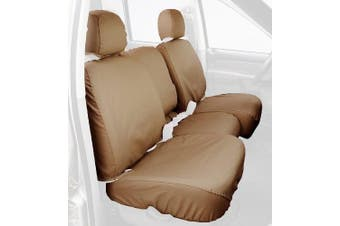 (Rear 60/40 bench with adjustable headrest; with console with cup-holder, Tan) - Covercraft Custom-Fit Rear-Second Seat Bench SeatSaver Seat Covers - Polycotton Fabric, Tan