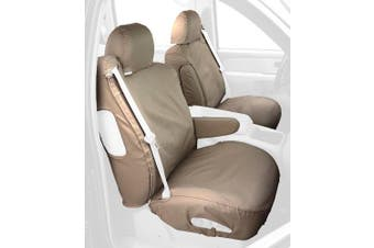 (Taupe) - Covercraft Custom-Fit Front Bucket SeatSaver Seat Covers - Polycotton Fabric, Taupe