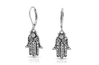 Bling Jewellery Flower Hamsa Hand CZ Sterling Silver Leverback Dangle Earrings