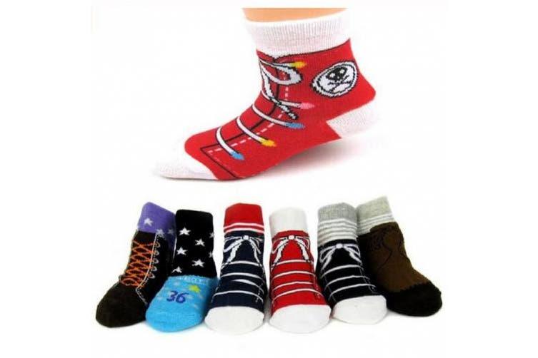 (Boys' S2(6Prs)) - Pro1rise® 6 Pairs Non-skid Baby Boys Girls Toddler Anti Slip Stretch Knit Slipper Shoe Socks 12 - 36 Months