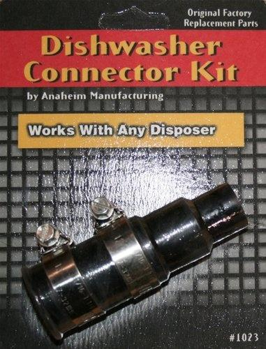 Anaheim 1023 Dishwasher Connector Kit-DISHWASHER CONNECTOR KIT Use to connect dishwasher outlet hose to disposer. Its stepped design fits various hose sizes. PackageTypeDescriptionDishwasher Connector