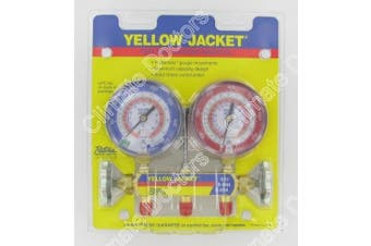 Yellow Jacket 42001 Manifold with 7.6cm - 0.3cm Colour-Coded Gauges, psi, R-22/404A/410A (Clamshell)