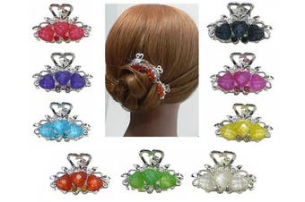Set of 9 Mini Jaw Clips in Beads and Sparkling Stones U864175-0031-9
