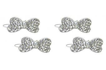 (3.5 cm x 1.6 cm, crystal) - Set of 2 Pairs Of Crystal Bowtie Barrettes With Snap-On Clip For Thin Hair U86350-1722cREM22