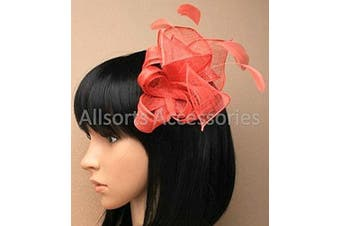 (Coral) - Allsorts® Sinamay Comb Feather Fascinator Ladies Day Royal Ascot Weddings (Coral)