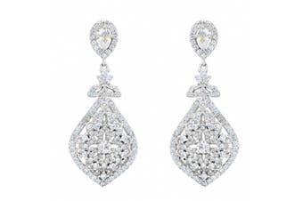 EVER FAITH® 925 Sterling Silver Cubic Zirconia Elegant Chandelier Teardrop Earrings Clear N07808-1